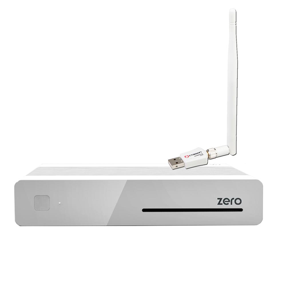 VU+ Plus Zero E2 Linux Full HD Sat 1xDVB-S2 Receiver Weiss + 300Mbit Wlan Stick mit Antenne XXX390