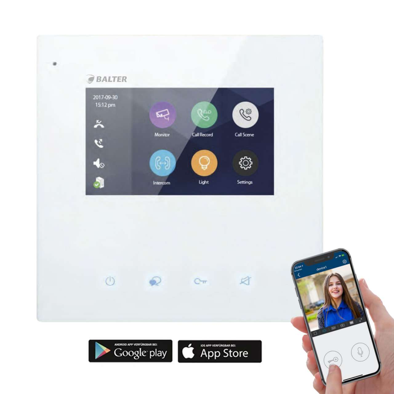 BALTER JUNO 4,3 Wifi Videostation Touchscreen Bildschirm 2-Draht BUS Plexiglas Weiß BALVSJ43W