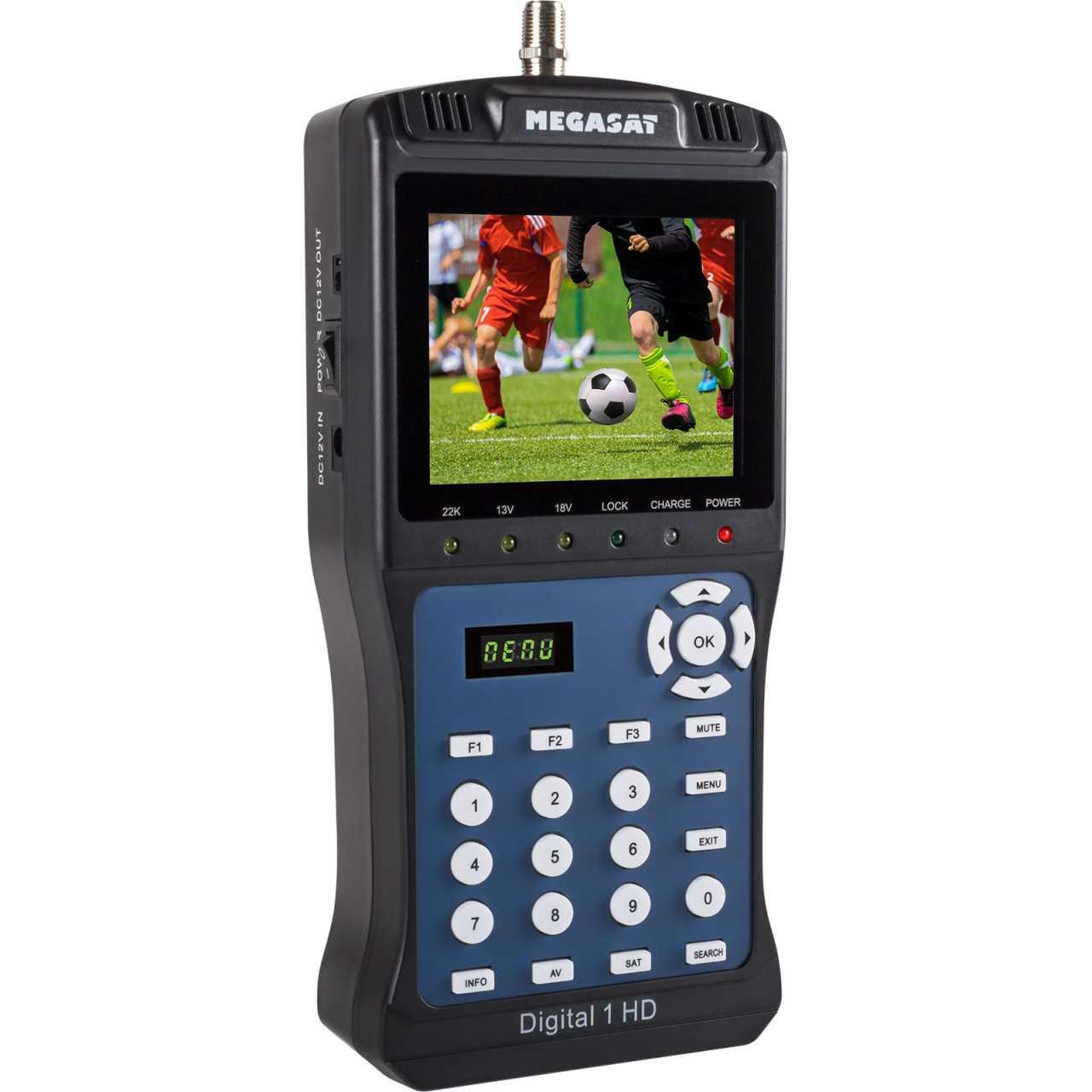 Megasat Satmessgerät Digital 1 HD TV LCD DVB-S2 Satelliten-Finder Vorprogrammiert MONMES055