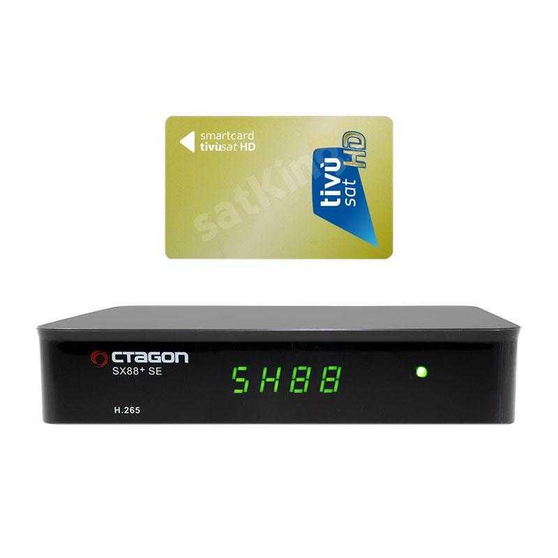 Octagon SX88+ SE CA HD HEVC Full HD DVB-S2X Sat IP Receiver mit HD TiVuSat Karte Aktiv RECOCT100T
