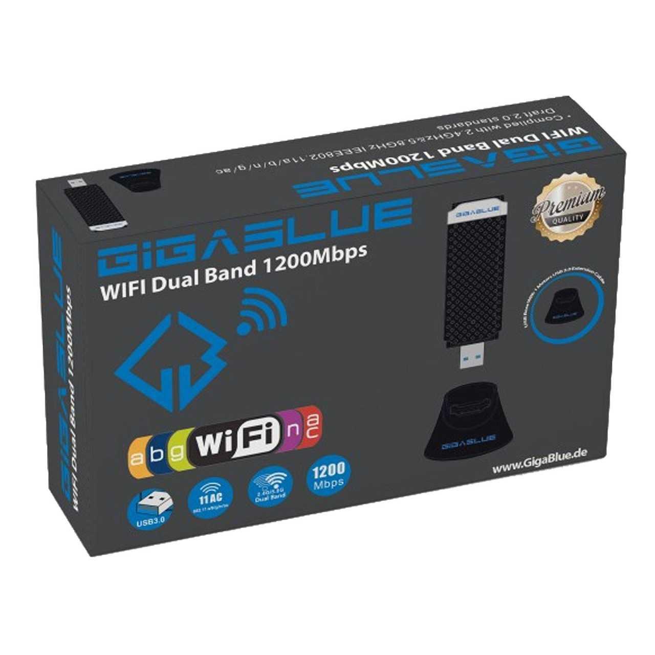 GigaBlue USB 3.0 WiFi 1200Mbit Dual Band 2,4 - 5GHz Wlan Stick 2 dBi GIGZUB013