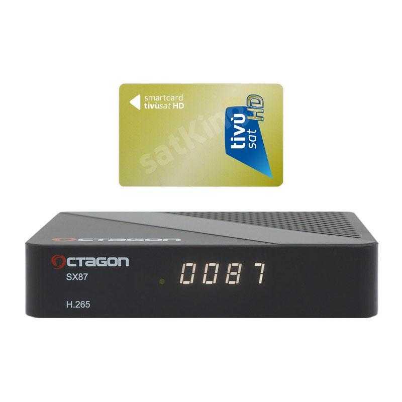 Octagon SX87 Full HD H.265 Linux LAN HDMI DVB-S2 Sat Tuner IP Receiver mit TiVuSat Karte aktiv RECOCT111T
