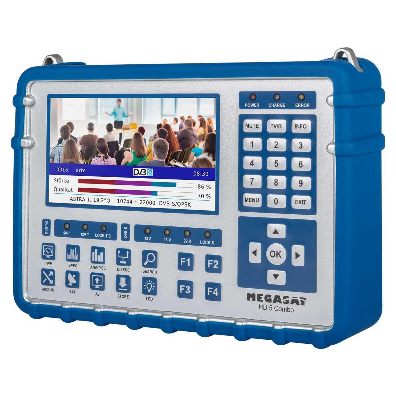 Megasat Sat Messgerät HD 5 Combo OLED DVB-S2/S2X/C/T2 Sat-/Kabel-/DVB-T2 Multistream Finder MONMES064