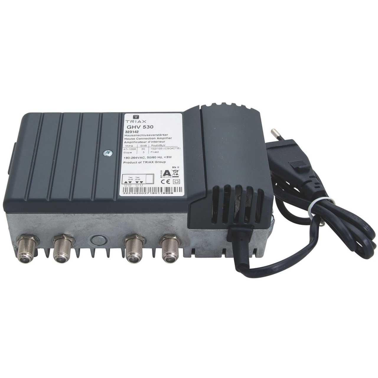 Triax GHV 530 Hausanschlussverstärker DVB-C 30dB BK-Hausanschluss- und Nachverstärker MONVER004