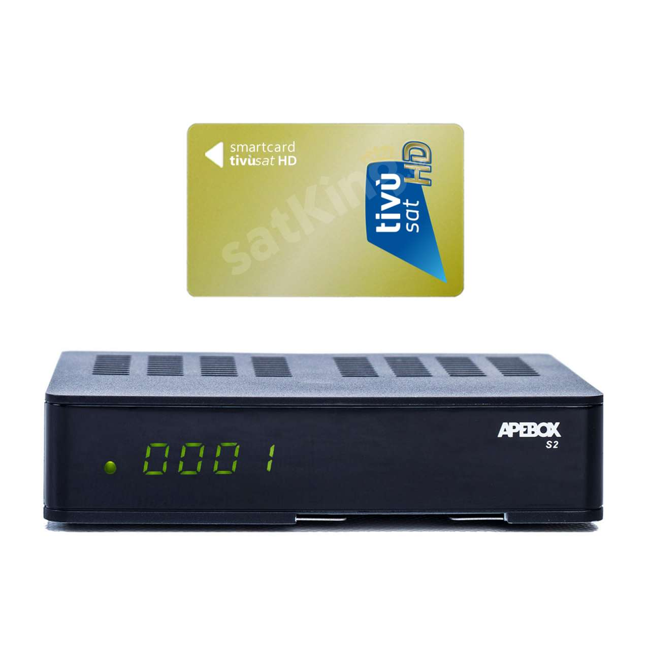 Apebox S2 Full HD H.265 LAN DVB-S2 Sat Receiver mit HD TIVUSAT Karte Aktiv RECAPE01T