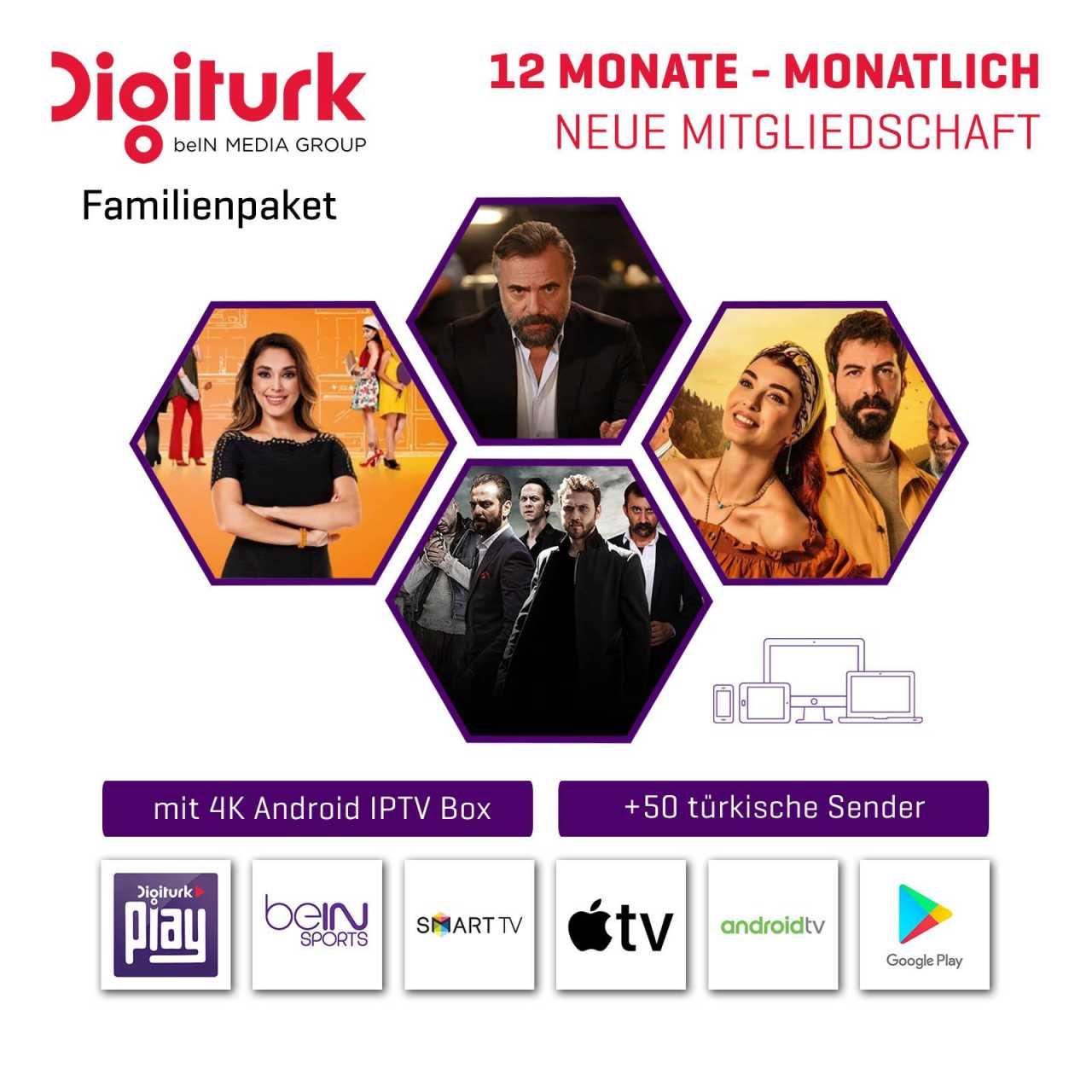 Digitürk Digitürk Play WEB TV IP HD Familienpaket mit 4K TV IP Box - Monatlich 7,90 ? - 12 Monate Abo ABODIG040