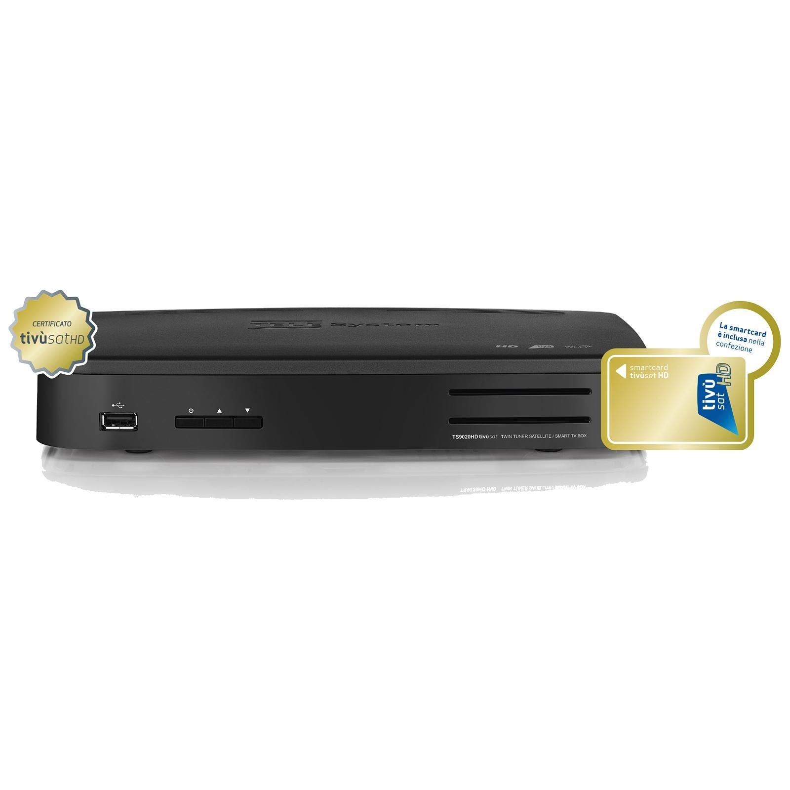Telesystem TS 9020 HD Twin Sat-Receiver USB PVR WiFi inkl  Tivusat HD Karte