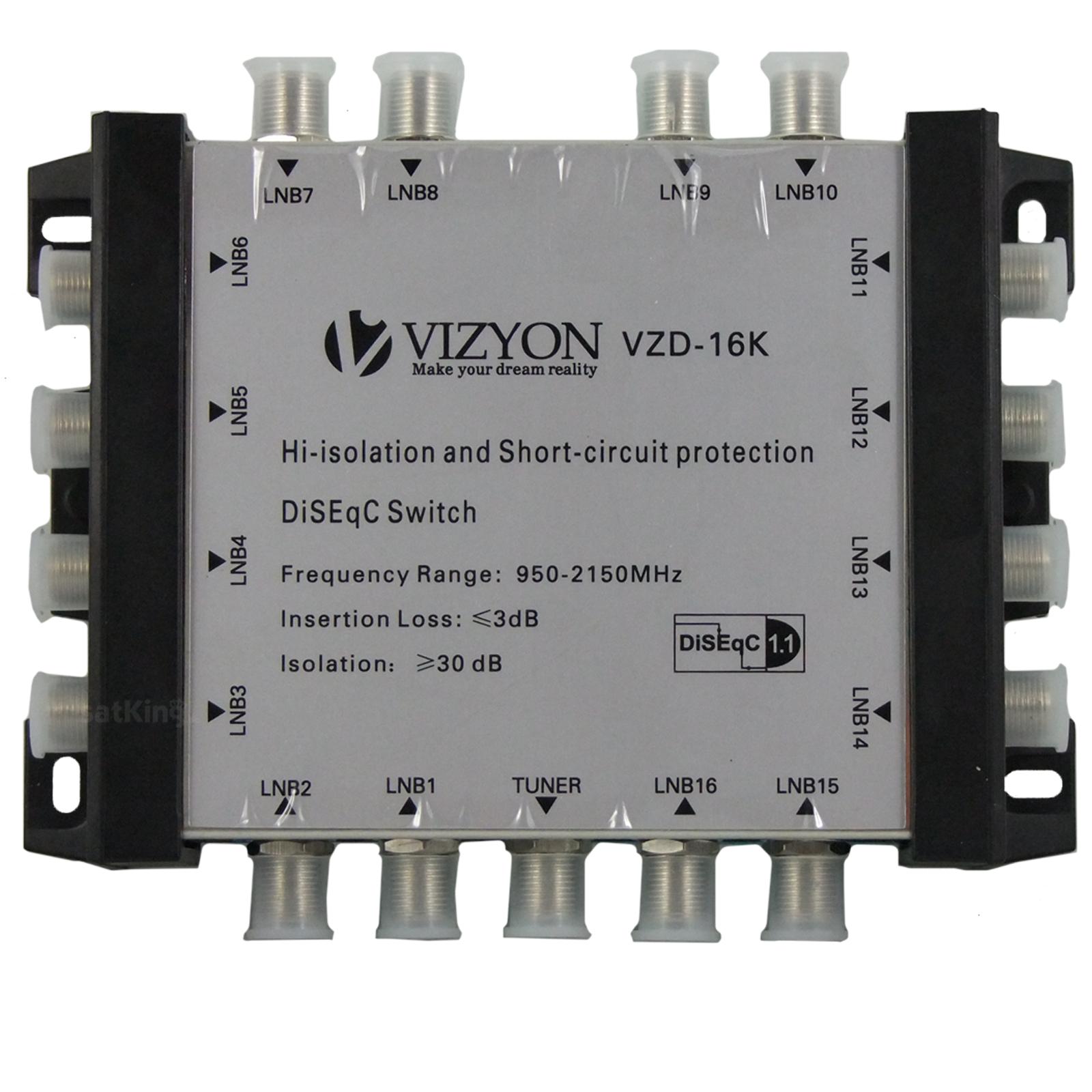Vizyon VZD-16K DiSEqC Schalter 16/1 (16 in/1 out) ++ SatKing