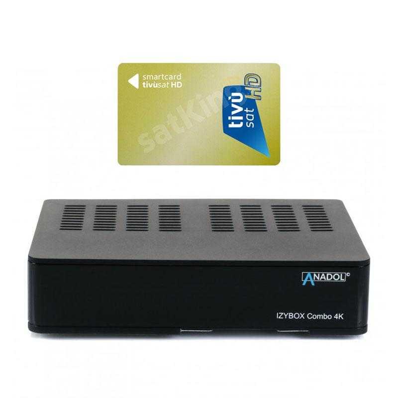 Anadol IZYBOX Combo 4K UHD H.265 DVB-S2/C/T2 Sat & Kabel Receiver mit TiVuSat Karte aktiv RECANA015T