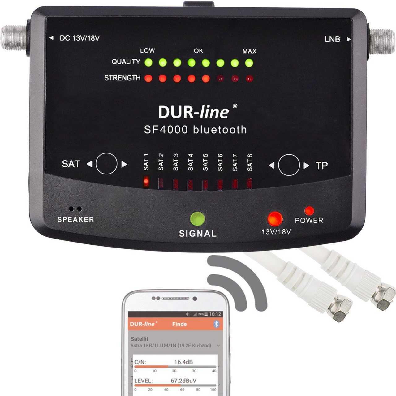 DUR-Line SF 4000 BT LED Sat Messgerät Bluetooth App Steuerung 8 vorprogrammierte Satelliten MONMES068