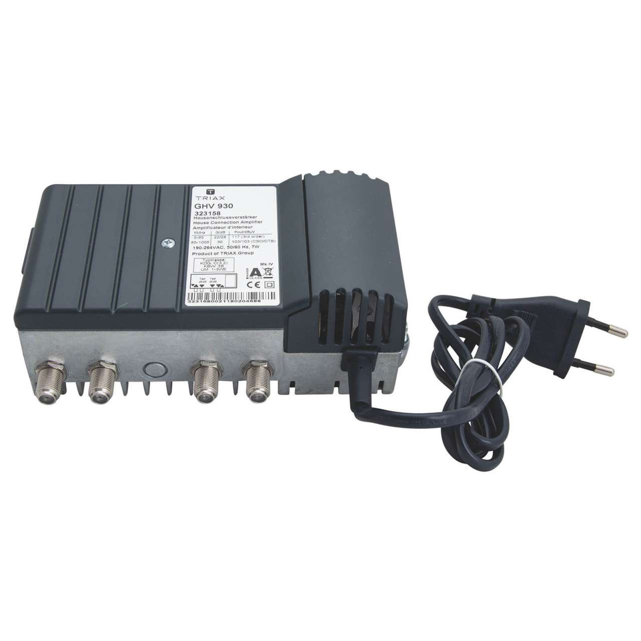 Triax GHV 930 Hausanschlussverstärker mit Rückkanal 30dB (Terrestrisch/Kabel) MONVER003