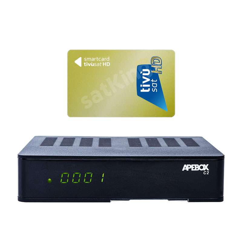 Apebox C2 Full HD 1xDVB-S2 1xDVB-C/T2 Combo IP Receiver mit HD TiVuSat Karte Aktiv RECAPE02T