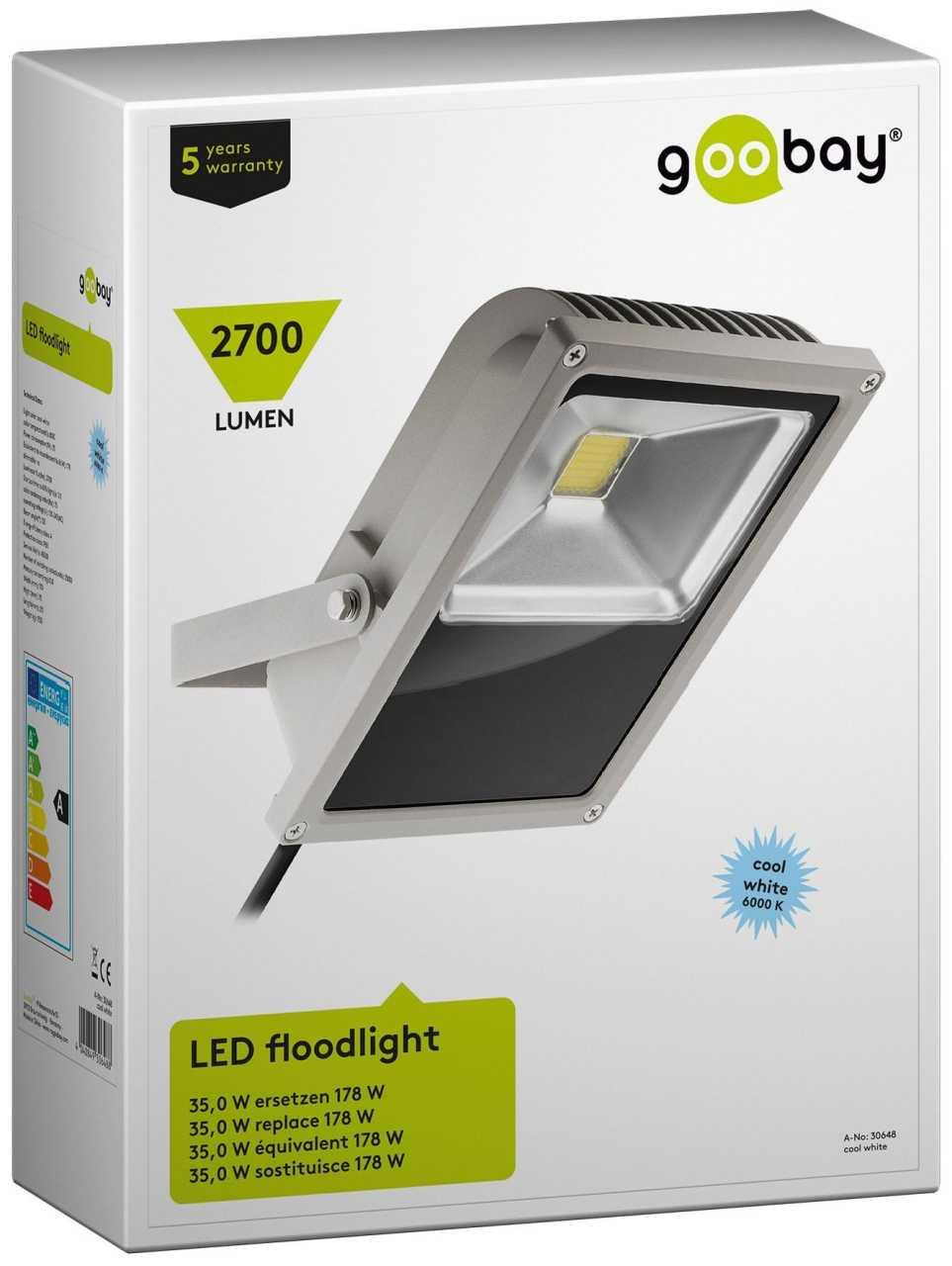 Goobay LED Flutlicht 70W 5000 lm 6000K Kalt-Wei' Leuchte