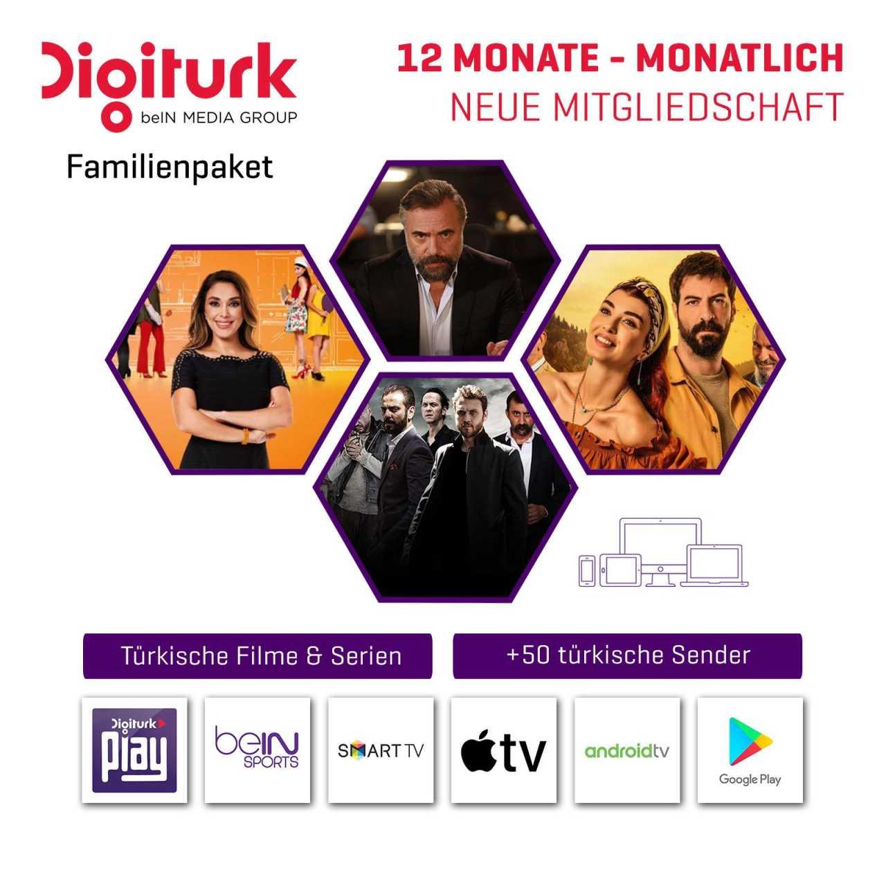 Digitürk Digitürk Play WEB TV IP HD Familienpaket - Monatlich 7,90 ? - 12 Monate Abo ABODIG035