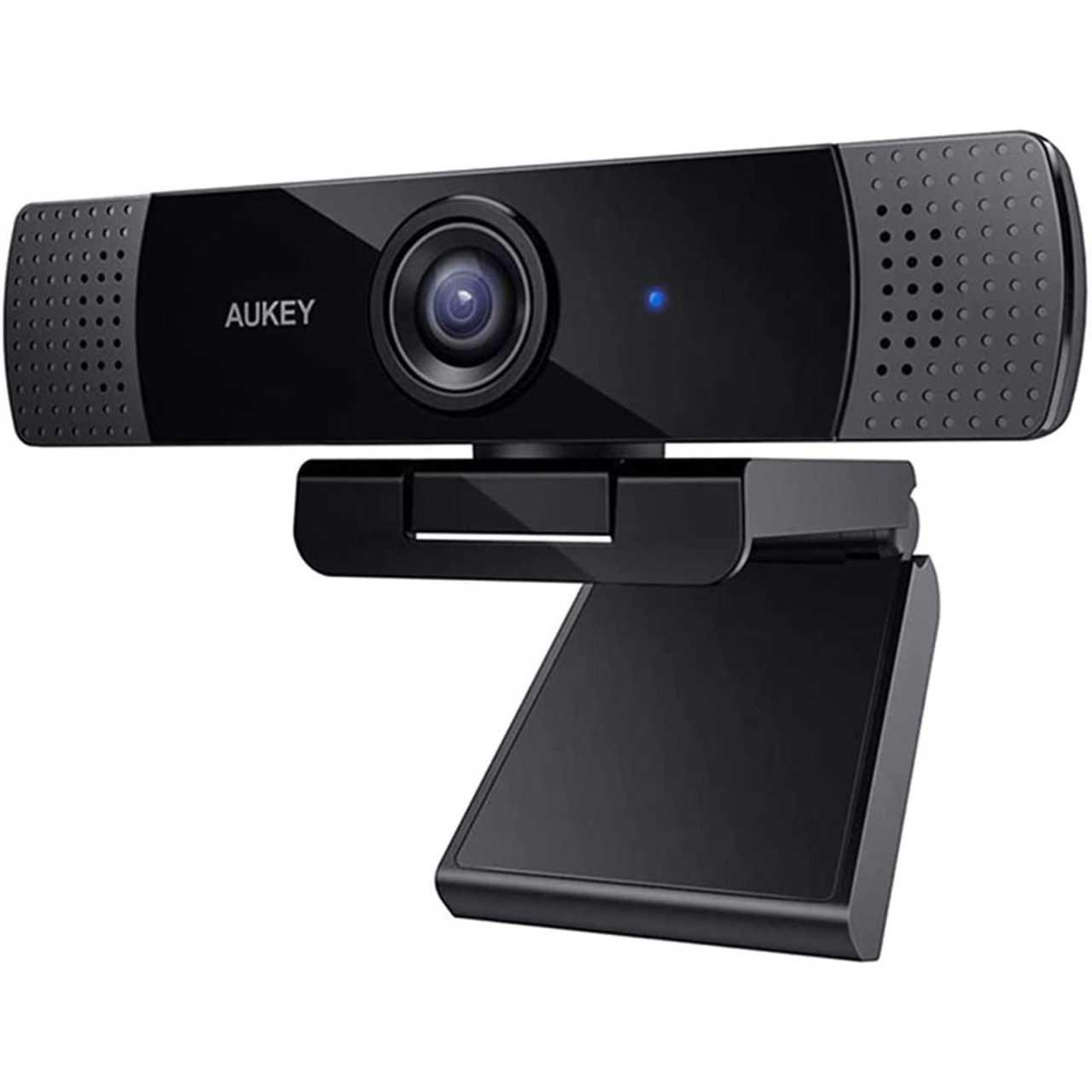 AUKEY Webcam PC-LME1 Full HD 1080p 30fps 2 Megapixel mit Stereo Mikrofon Schwarz WEBCAM02