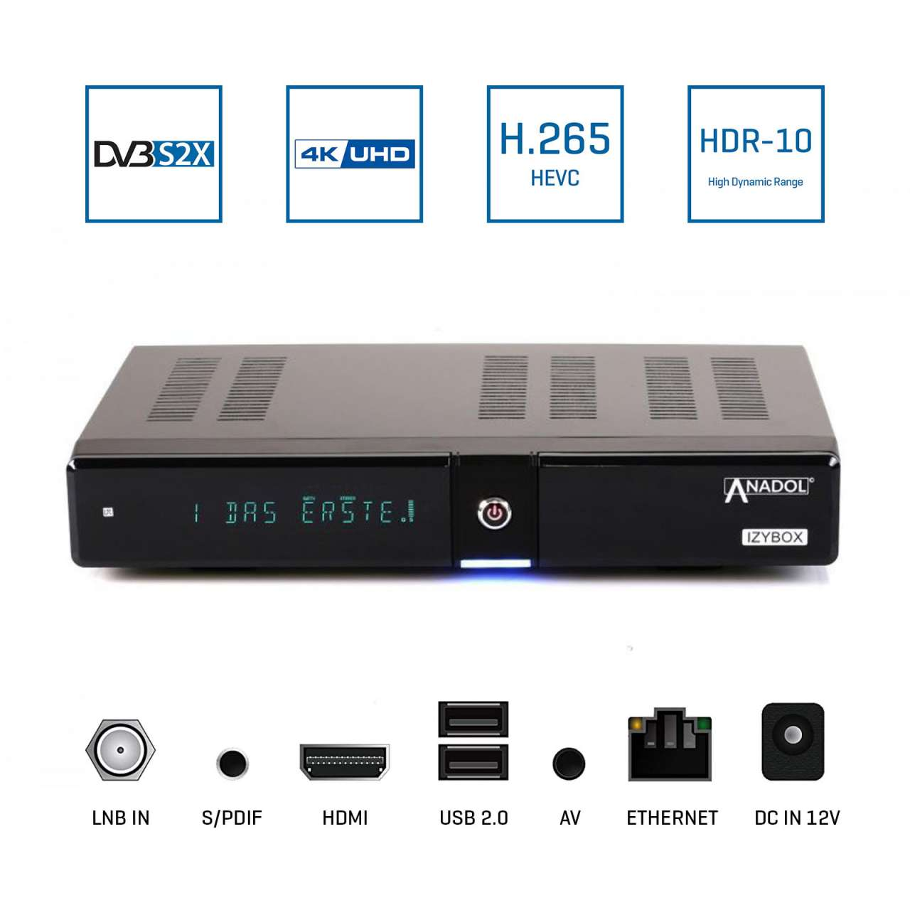 Anadol IZYBOX 4K Ultra HD DVB-S2X Tuner H.265 HEVC HDMI USB LAN Multistream Sat Receiver Schwarz RECANA014